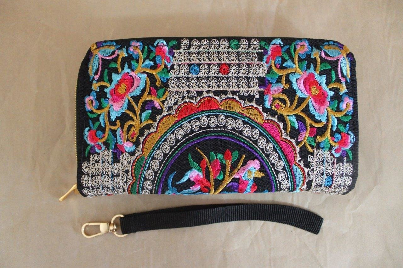 clutch purse Limited edition of Genuine Embroidered Vintage Tribal BOHO wallet